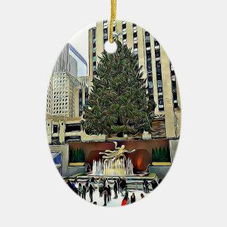 Adorno De Cerámica Navidad de la pista de patinaje del árbol de NYC