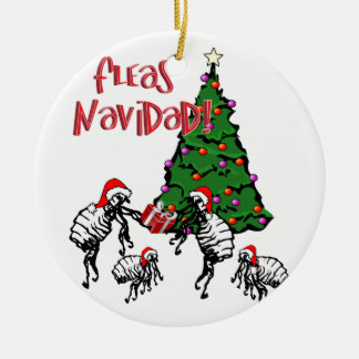 Adorno De Cerámica NAVIDAD de las PULGAS - Pulgas y árbol de navidad