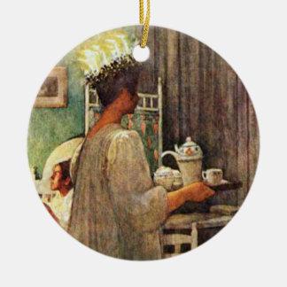 Adorno De Cerámica Navidad del día de Carl Larsson St Lucia en Suecia