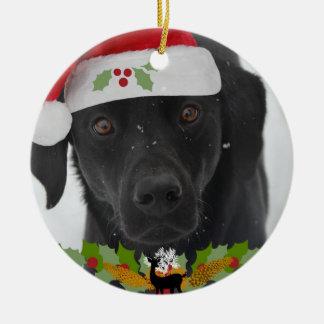Adorno De Cerámica Navidad del labrador retriever