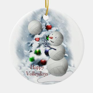 Adorno De Cerámica Navidad del muñeco de nieve del voleibol