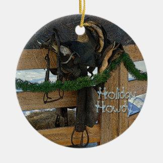 Adorno De Cerámica Navidad del país del rancho del día de fiesta