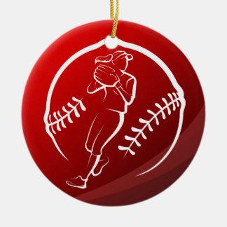 Adorno De Cerámica Navidad del softball