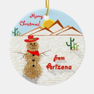 Adorno De Cerámica Navidad del Tumbleweed de Arizona