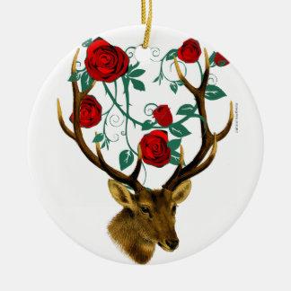 Adorno De Cerámica Navidad del vintage de las vides de los rosas de