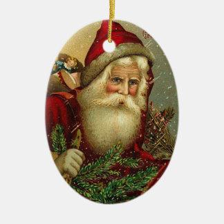Adorno De Cerámica Navidad Papá Noel del vintage
