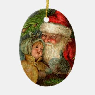 Adorno De Cerámica Navidad pasado de moda, Santa con el niño