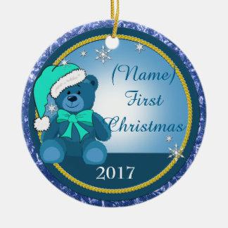 Adorno De Cerámica Navidad personalizado azul del oso de peluche del