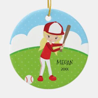 Adorno De Cerámica Navidad personalizado béisbol rubio lindo del