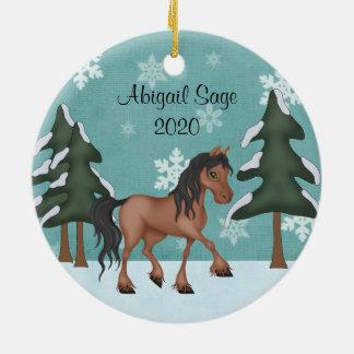 Adorno De Cerámica Navidad personalizado del día de fiesta Nevado del