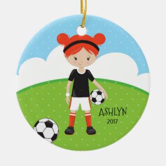 Adorno De Cerámica Navidad personalizado fútbol principal rojo lindo
