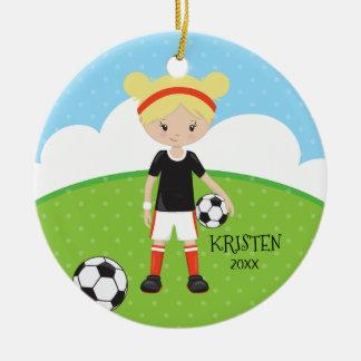 Adorno De Cerámica Navidad personalizado fútbol rubio lindo del chica