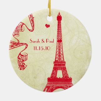 Adorno De Cerámica Navidad que casa la foto con la torre Eiffel