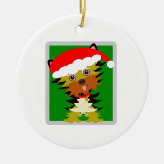 Adorno De Cerámica Navidad rojo y verde Yorkie