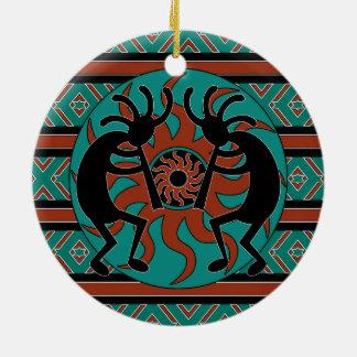 Adorno De Cerámica Navidad tribal del sudoeste de Kokopelli de la