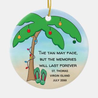 Adorno De Cerámica Navidad tropical personalizado de la playa