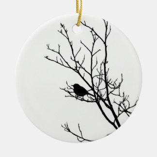Adorno De Cerámica Negro en la silueta blanca del pájaro, 2016 -