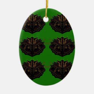 Adorno De Cerámica Negro verde de Eco de los elementos del diseño