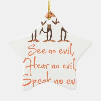 Adorno De Cerámica No vea ningún mal - no oír ningún mal - no hablar