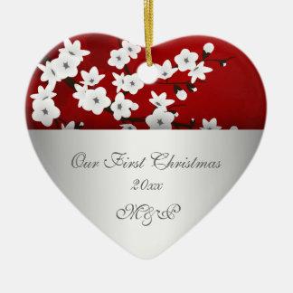 Adorno De Cerámica Nuestra primera flor de cerezo del navidad junto