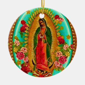 Adorno De Cerámica Nuestro Virgen María mexicano del santo de señora