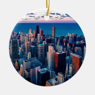 Adorno De Cerámica Ocaso del horizonte de Chicago