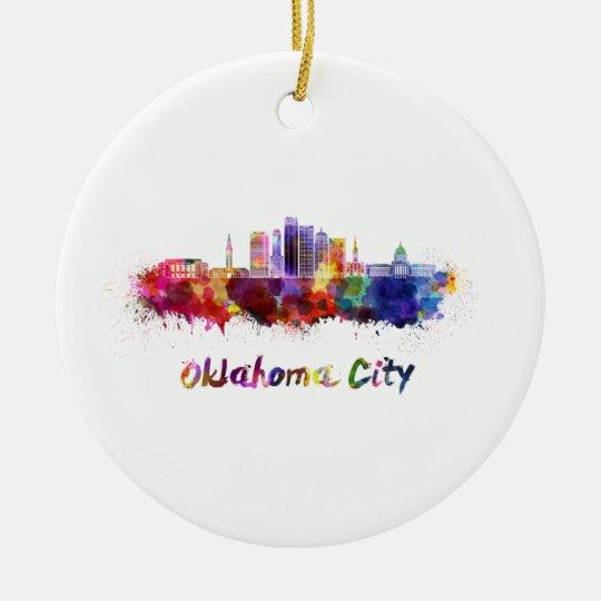 Adorno De Cerámica Oklahoma City V2 skyline in watercolor