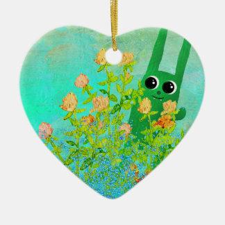 Adorno De Cerámica ornamen verdes del conejito
