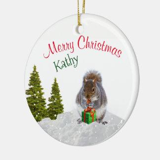 Adorno De Cerámica Ornamento/ardilla animales lindos del navidad