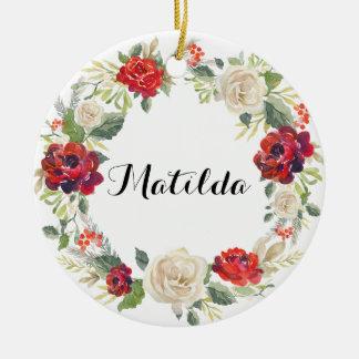 Adorno De Cerámica Ornamento/rosas florales del día de fiesta de la