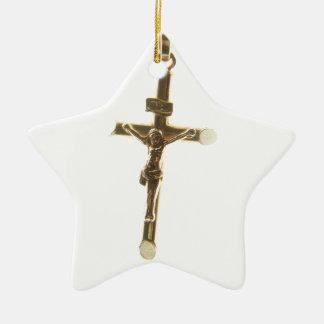 Adorno De Cerámica Oro cruzado del Jesucristo horizontal