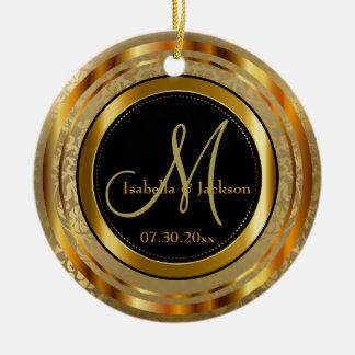 Adorno De Cerámica Oro de encargo y boda o aniversario negro