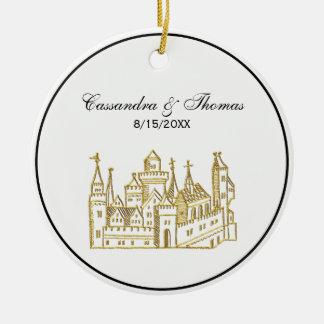 Adorno De Cerámica Oro del escudo heráldico del castillo #2 del