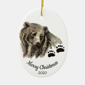 Adorno De Cerámica Osos grizzly de encargo de la acuarela del navidad