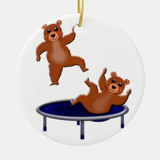 Adorno De Cerámica osos trampolining