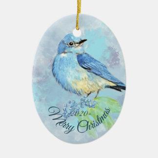 Adorno De Cerámica Pájaro anticuado del Bluebird de la acuarela del