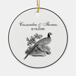 Adorno De Cerámica Pájaro de juego del faisán del vintage que dibuja