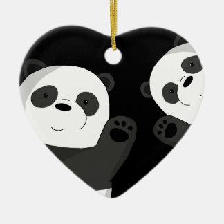 Adorno De Cerámica Pandas lindas