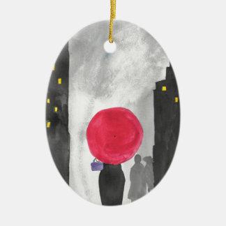 Adorno De Cerámica Paraguas rojo