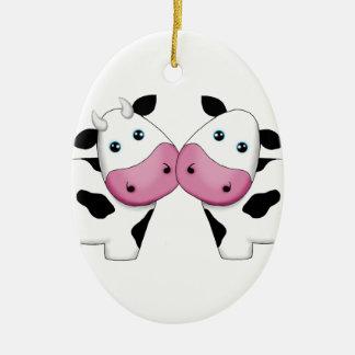 Adorno De Cerámica Pares lindos de la vaca