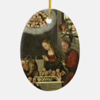 Adorno De Cerámica Pastores que adoran al bebé Jesús por Cranach