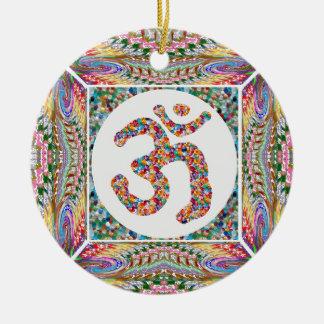 Adorno De Cerámica Paz del indio de la yoga del Hinduism de OmMantra