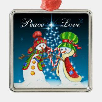 Adorno De Cerámica Paz y día de fiesta del muñeco de nieve y de la