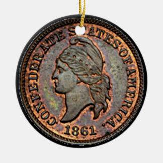 Adorno De Cerámica Penique confederado de cobre del dinero 1861