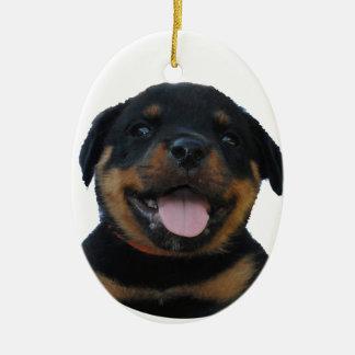 Adorno De Cerámica Perrito masculino feliz de Rottweiler
