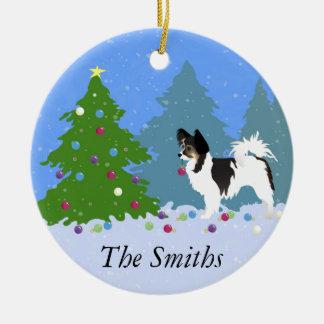 Adorno De Cerámica Perro de Papillon que adorna el árbol de navidad