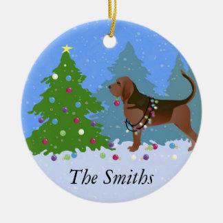 Adorno De Cerámica Perro del sabueso que adorna el árbol de navidad