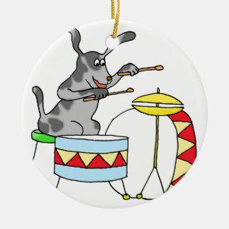 Adorno De Cerámica Perro musical que juega los tambores