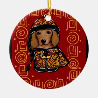 Adorno De Cerámica Perro rojo del Dachshund del año