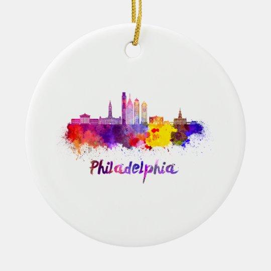 Adorno De Cerámica Philadelphia V2 skyline in watercolor